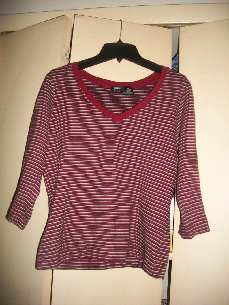 Vintage 90/'s Striped Cotton Blend Top Grunge Top size M