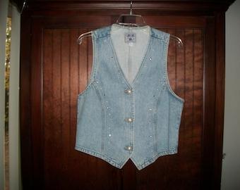 Vintage Light Wash Denim Embellished Vest Size Small