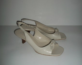 Vintage Franco Sarto Peep-Toe Slingback Shoes Size 7M
