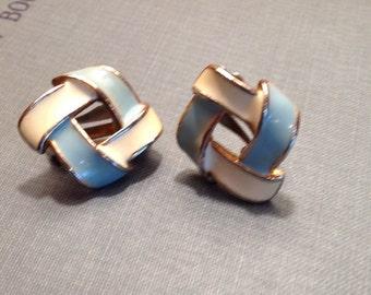 Vintage Enamel Blue and Cream Clip On Earrings