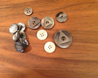 Vintage Mother of Pearl Buttons, Shell