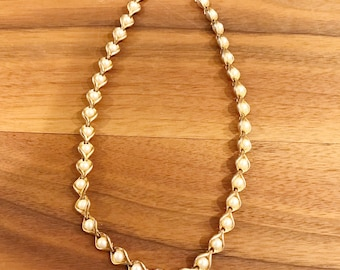 Vintage Retro Gold Tone and Faux Pearl Necklace, Mid Century