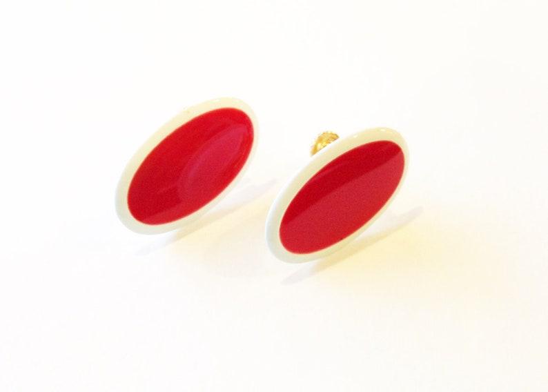 Free Shipping Jewelry Vintage Retro Napier Signed Oval Enamel Gold Tone Screw Back Earrings