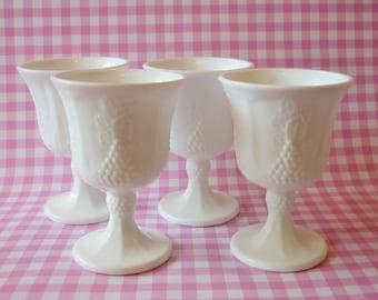 Four Indiana Glass Milk Glass Goblets
