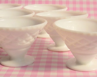 Crown Crystal Milk Glass Coupe Fruit Cups
