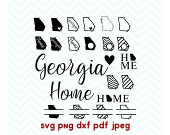 Georgia svg, State svg, Home, Love, Split, Circle Monogram, Cricut Files, Silhouette Files, Vinyl Cut File, Iron on decal, dxf, pdf