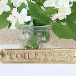Toilettes - French vintage brass plaque