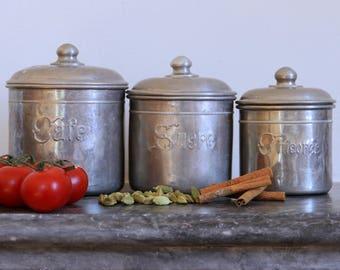 French kitchen canister set - aluminium nesting set of three