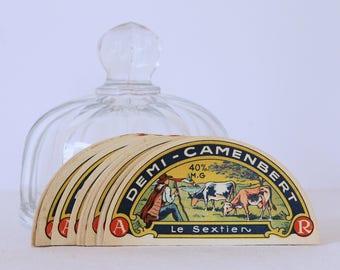 Franse vintage camembert kaas label