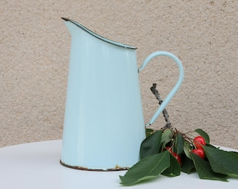 French vintage enamel pitcher - light green with green rim