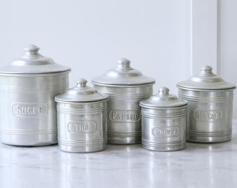 French vintage kitchen canisters - aluminium nesting set of five