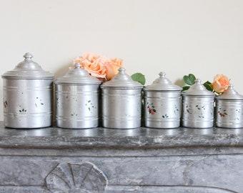 French kitchen canisters - aluminium nesting set of six