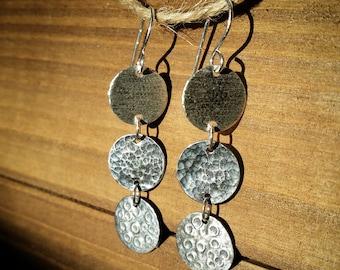 Moon Earrings - Three Moons - Fine Silver
