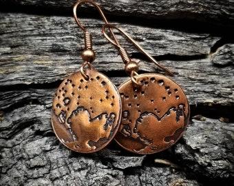 Pluto Earrings - Copper
