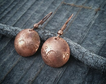 Pluto Earrings - Copper - Domed