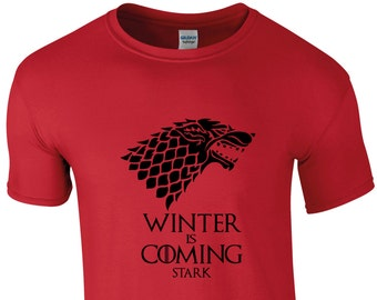 Game of Thrones Winter is Coming Men's Shirt, House Stark, Direwolf, 10 Colours, TS1009