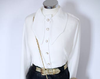 Size 10 -12 alexa chung style vintage cream blouse