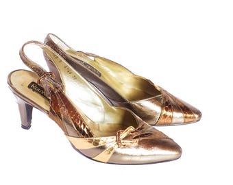 Vintage gold stiletto heels UK 5
