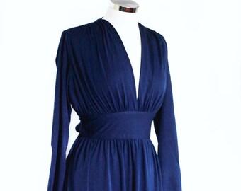 Vintage 1970s navy maxi dress UK 12 - 14