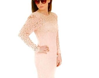 Vintage lace couture dress UK 8