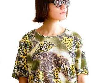 Vintage 90s leopard print top UK 18