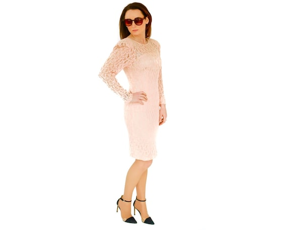 80s vintage pastel pink lace couture dress UK 8