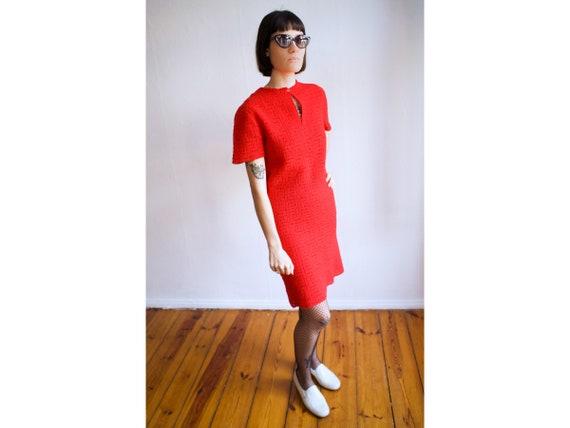 70s vintage red dress (crochet) UK 12