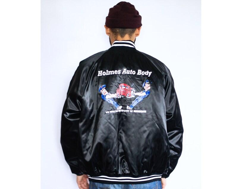 90s black bomber jacket LARGE
