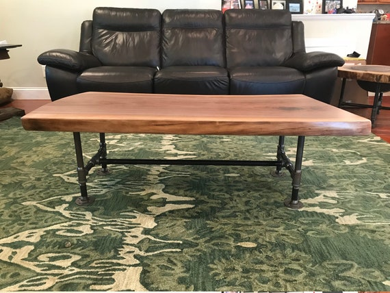 Live Edge Walnut Coffee Table Industrial Live Edge Coffee Etsy