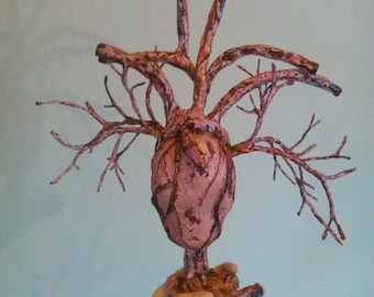 Anatomical Heart Sculpture Papermache, fleshy bloody, macabre romantic