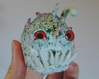 Speckled Baby Anglerfish, monkfish, papier mache figurine, doll, fluorescent glow in the dark, monkfish faux taxidermy handmade