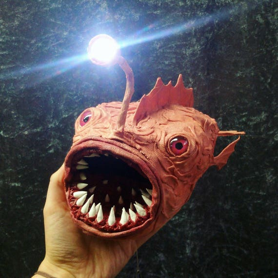 Led Anglerfisch Lampe Seeteufel Leuchte Hautfarben Fisch Etsy