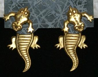 7edb8e9d5 Vintage JJ Jonette Gold Tone Pewter Alligator Front and Back Earrings.
