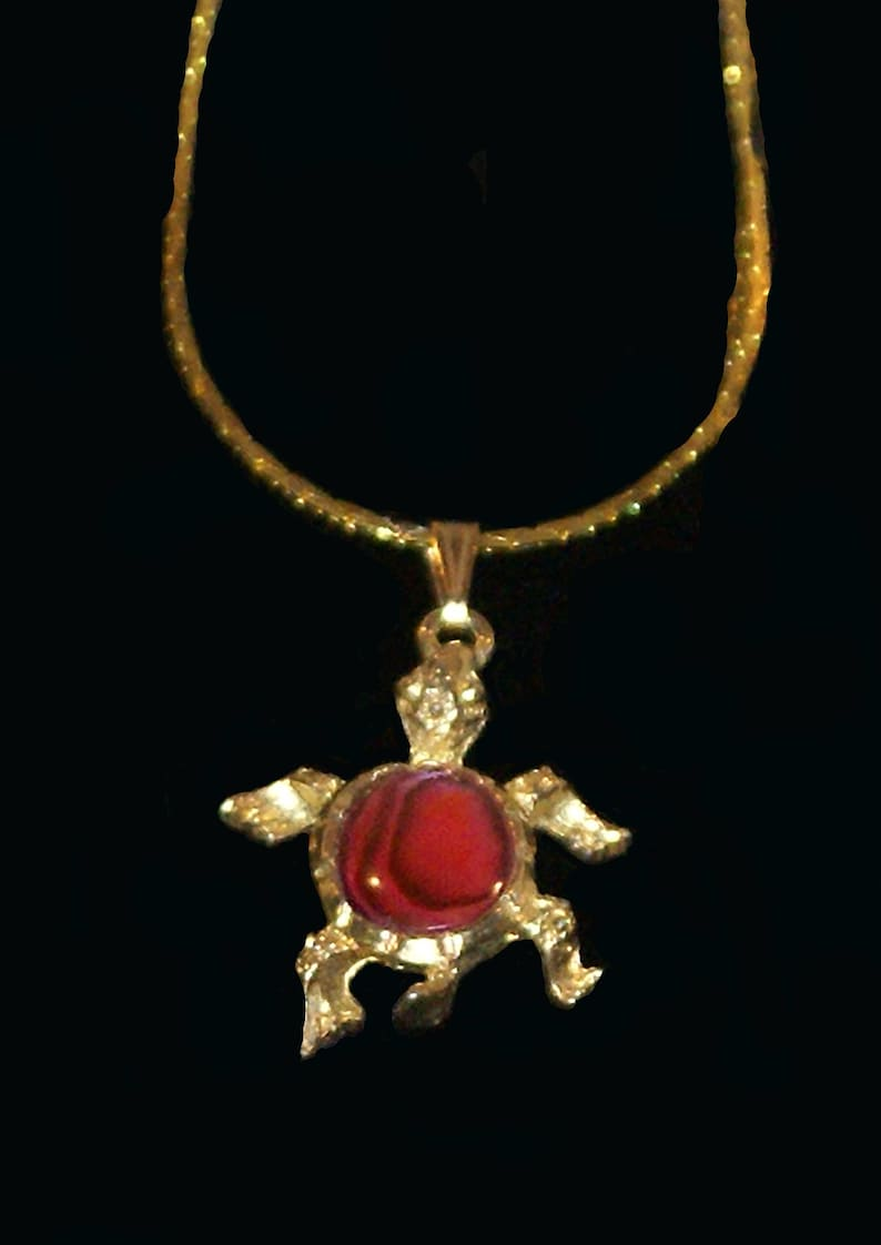 Valantines Day Gift Gift For Her Handmade Gold Plated Turtle with a Red  Paua Shell Stone