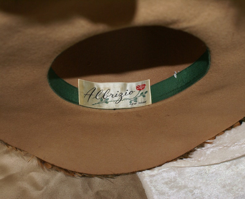Vintage One of A Kind Sophisticated Abrezio Formal Cloche Hepburn Wide Brim Pheasant Feather 1950/'s  Style Hat.