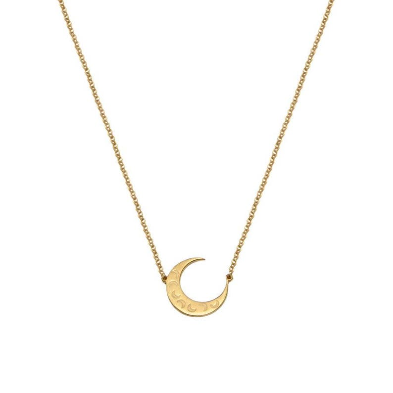 Silver Moon necklace Mayan pendant-Handmade
