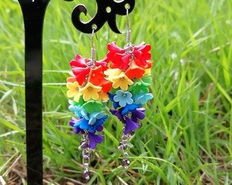 Rainbow pride earrings Rainbow flower jewelry Colorful jewelry Bright jewelry Long flower earrings Multicolor earrings gift for daughter