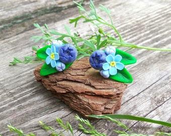 Rustic gift for girlfriend Blue flower earrings Rustic jewelry Woodland earrings Berry jewelry Forest wedding jewelry Nature inspired Garden