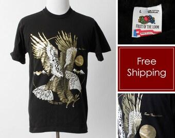 f12ab5a51e4 Vintage San Francisco Eagle TShirt T Shirt - 80 s Retro Black Men s Large L  Women s XL Made in USA
