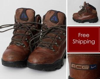 online store 5e307 3cc55 Vintage Men s Hiking Boots Nike ACG Brown - 90s Retro US Size 6.5 EU 37.5  uk 4   23.5 cm