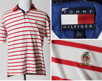 b73752e06 Vintage Men's Polo Shirt Tommy Hilfiger Short Sleeve Stripe - 90s Retro  Large L Red White