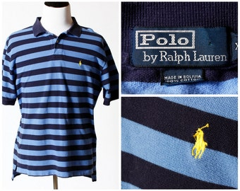Vintage Men s Polo Shirt Ralph Lauren Short Sleeve - 90s Retro XL Extra  Large Blue Navy Blue f775261c2dc4e