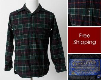 9781177f157 Vintage Men s Pendleton Shirt Wool Plaid - 70 s Retro Medium M Made in USA