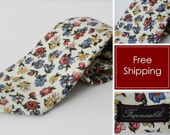 Vintage Faconnable Tie Floral Silk Hand Made Spring - 90 s Retro 59 inches 2a6b34375dfd