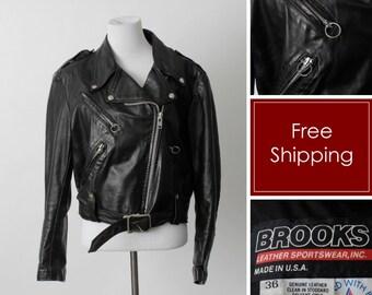 Women s Vintage Leather Jacket Mod Biker Black Brooks - 80 s Medium M 9380e12b3