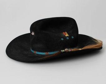 d34ddecdf2f60 Vintage Cowboy Hat Beaver Brand Fur Felt Black Pins Pin Rodeo - 80s Retro 6  3 4 21 54 1 4 21 54.25 Small S