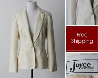 5649c9cbcda Vintage Women s Blazer Jacket Business - 80 s Retro Polyester Wool Medium M  6-8
