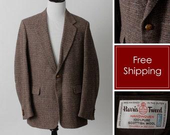 e0e24d63123f Vintage Men s Blazer Wool Harris Tweed Jacket Suit Coat Sport Alton Scott -  70s Retro 46 R 46R Made in the USA