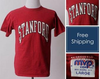c8b98bd466d Vintage Stanford T Shirt Tee Cardinal University Red - 80s Retro Men s  Medium M Women s Large L Made in USA