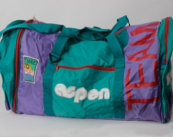 Vintage Duffel Bag Ski Skiing Aspen Large Gym - 90 s Retro Tote Shoulder 32  x 14 41ca7a9a2ab1f